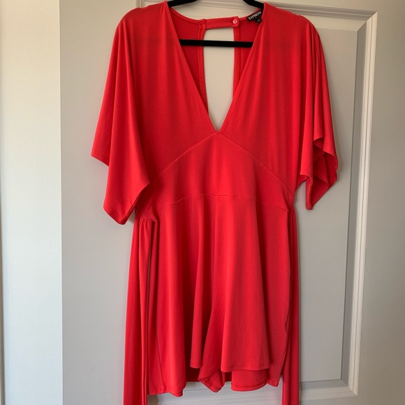Express Other - Red v-neck romper w/ tie